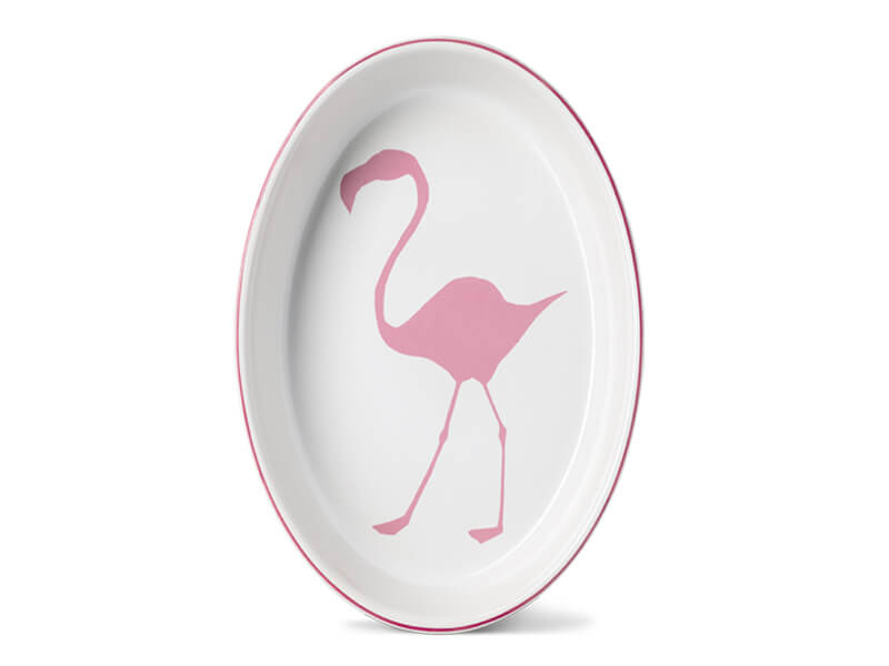 LARGE OVAL FLAMINGO OVENWEAR DISH