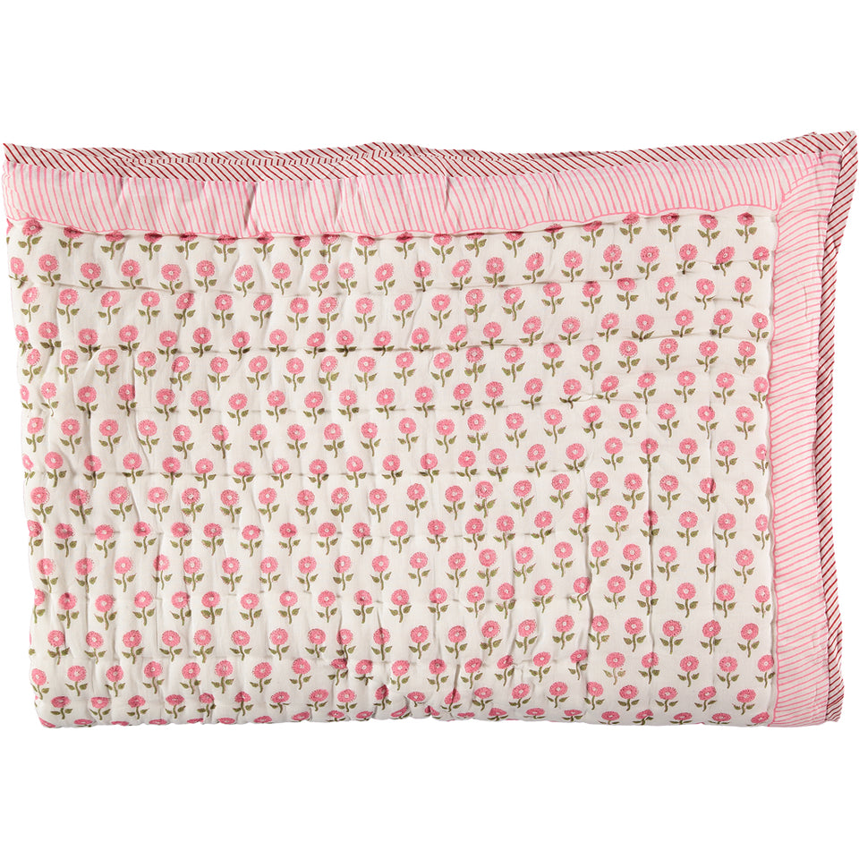 PINK DAISY SINGLE QUILT