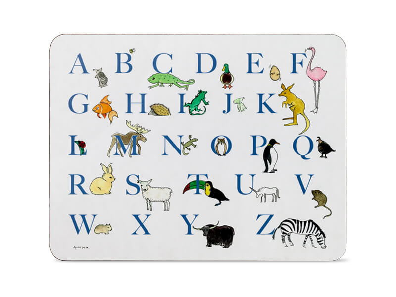 ALPHABET TABLE MAT IN BLUE