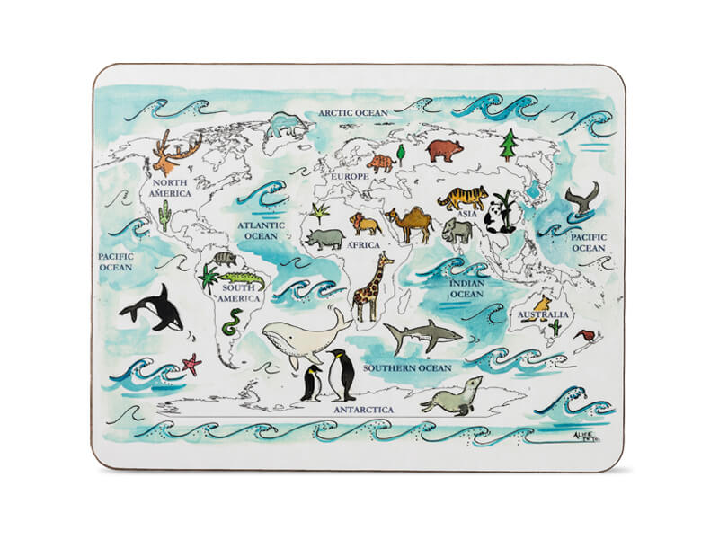 MAP OF THE WORLD TABLE MAT