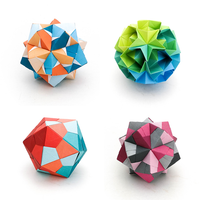 examples of kusudama made with origami paper sheets