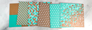 "Bundle pack ""Copper & Turquoise"", 6 packs of patterned paper"
