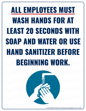 (Safety) COVID-19 Poster:  Employees Must Wash Hands - Individual Poster