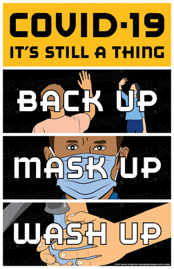 (Training) COVID-19 Poster:  Back-Up Mask-Up Wash-Up