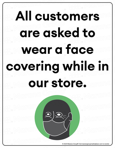 COVID-19 Poster:  Customer Face Covering - Individual Poster