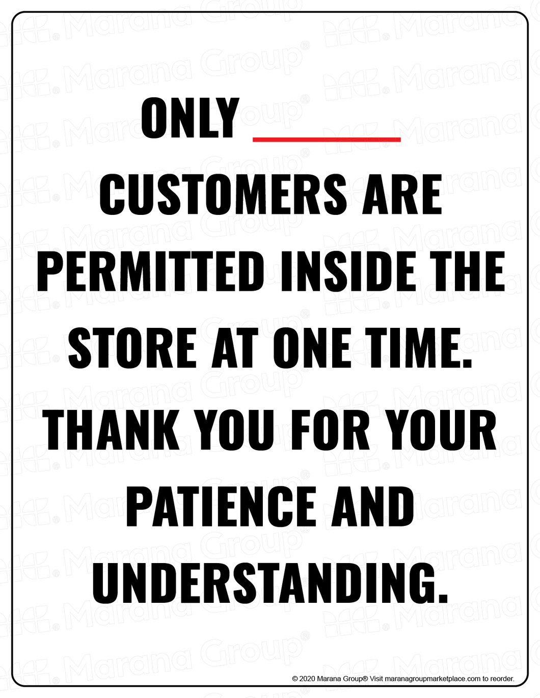 (Retail) COVID-19 Poster:  Customer Limit - No Reason - Individual Poster