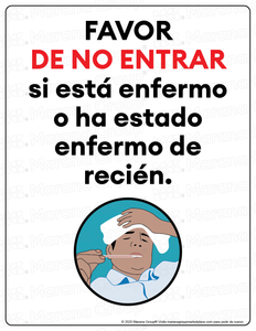(Restaurant) COVID-19 Poster: Do Not Enter if Sick- Individual Poster