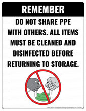 Load image into Gallery viewer, (Safety) COVID-19 Poster:  Do Not Share PPE - Individual Poster