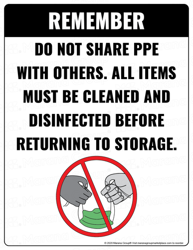 COVID-19 Poster:  Do Not Share PPE - Individual Poster