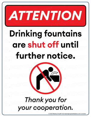 (Facility) COVID-19 Poster:  Drinking Fountain - Individual Poster