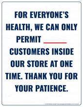 Load image into Gallery viewer, (Retail) COVID-19 Poster:  Customer Limit - For Everyone's Health - Individual Poster