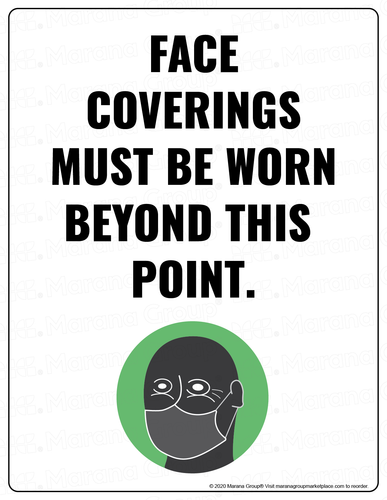COVID-19 Poster:  Face Coverings Must Be Worn Beyond this Point - Individual Poster