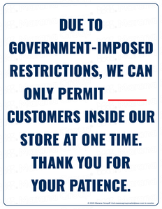 COVID-19 Poster:  Customer Limit - Government Restriction - Individual Poster