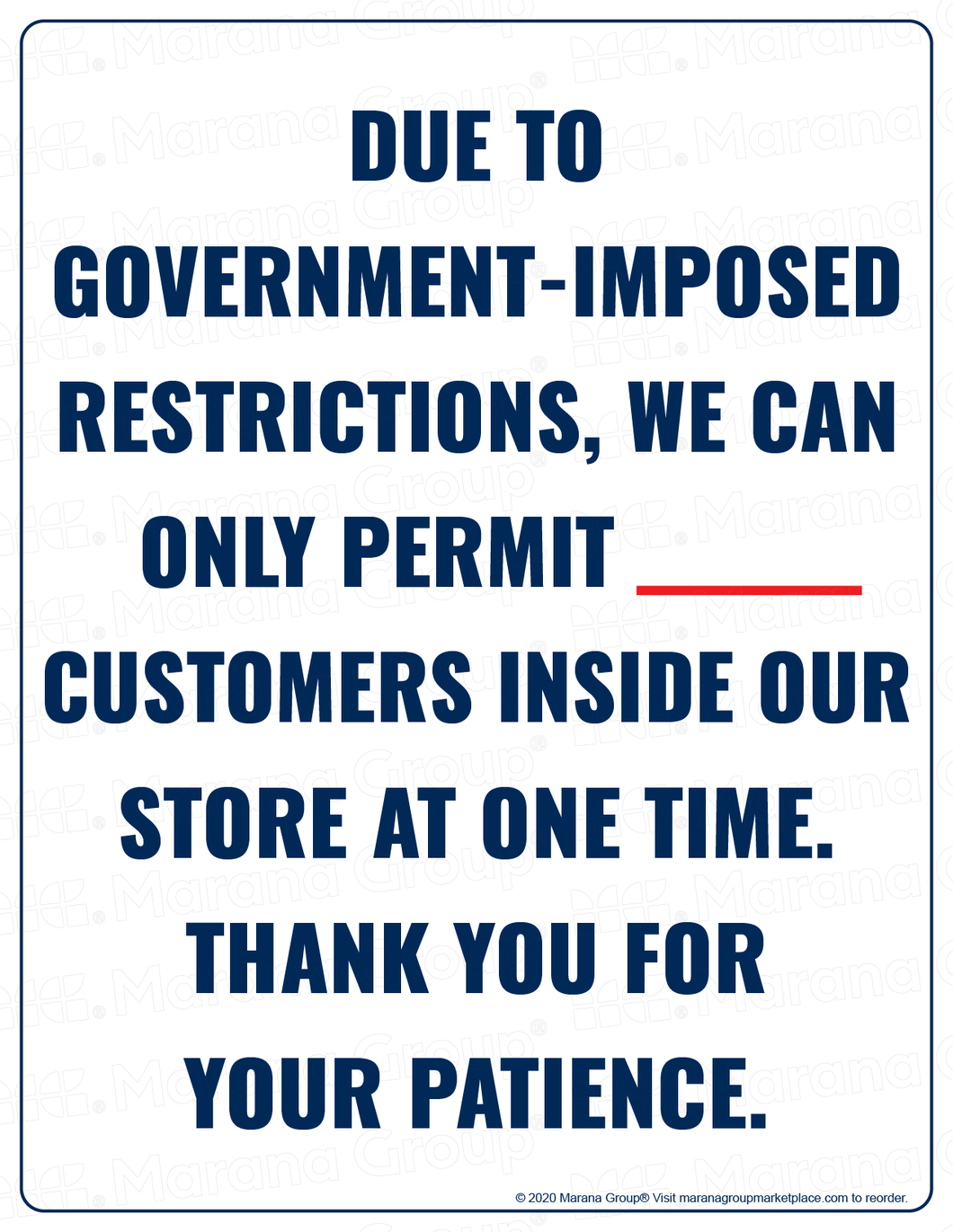 (Retail) COVID-19 Poster:  Customer Limit - Government Restriction - Individual Poster