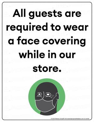 (Retail) COVID-19 Poster:  Guest Face Covering - Individual Poster