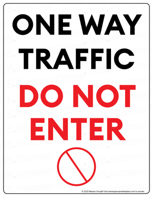 (Facility) COVID-19 Poster:  One-Way Traffic - DO NOT ENTER - Individual Poster