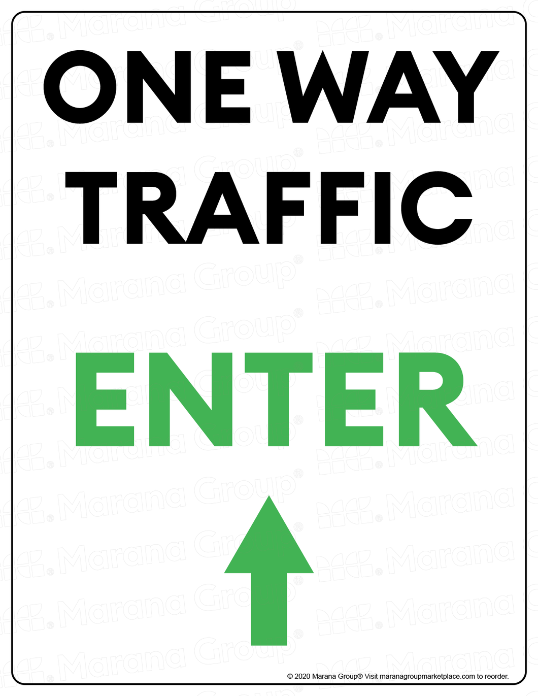 (Facility) COVID-19 Poster:  One-Way Traffic - UP Arrow - Individual Poster