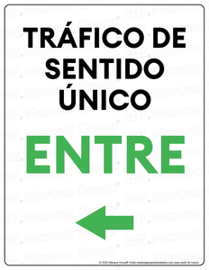 (Facility) COVID-19 Poster:  One-Way Traffic - LEFT Arrow - Individual Poster