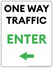Load image into Gallery viewer, (Facility) COVID-19 Poster:  One-Way Traffic - LEFT Arrow - Individual Poster