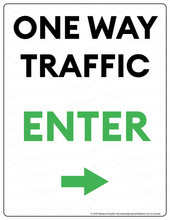 Load image into Gallery viewer, (Facility) COVID-19 Poster:  One-Way Traffic - RIGHT Arrow - Individual Poster