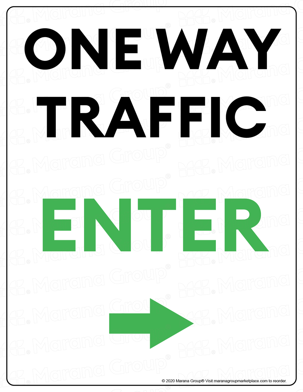 (Facility) COVID-19 Poster:  One-Way Traffic - RIGHT Arrow - Individual Poster