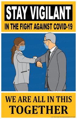 (Training) COVID-19 Poster:  Stay Vigilant - Business Persons