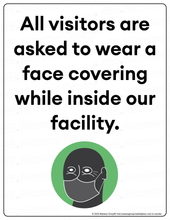 Load image into Gallery viewer, (Facility) COVID-19 Poster:  Visitor Face Covering - Individual Poster