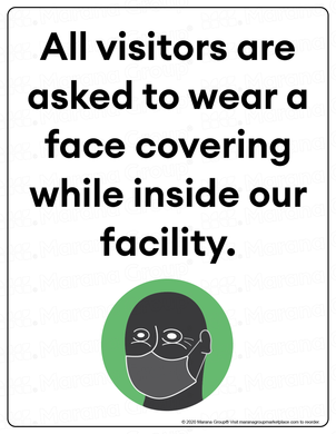 (Facility) COVID-19 Poster:  Visitor Face Covering - Individual Poster