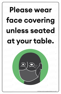 (Restaurant) COVID-19 Poster:  Face Coverings Required II - Individual Poster