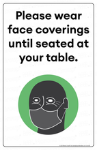 Load image into Gallery viewer, (Restaurant) COVID-19 Poster:  Face Coverings Required III - Individual Poster