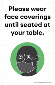 (Restaurant) COVID-19 Poster:  Face Coverings Required III - Individual Poster