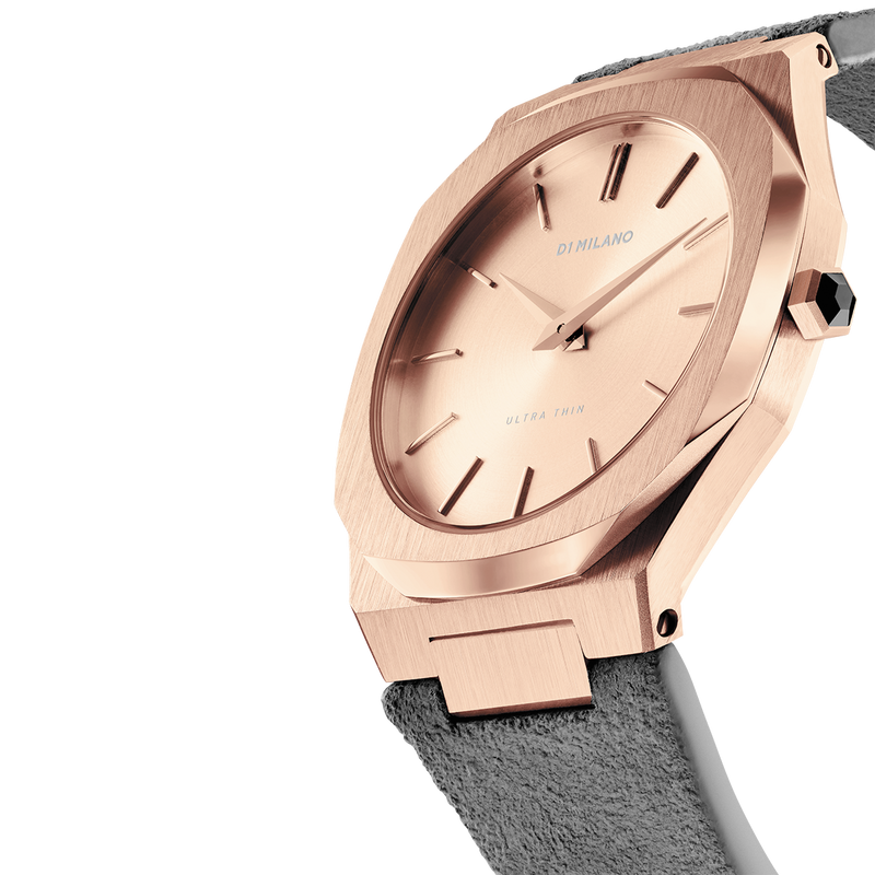 Ladies Ultra Thin Suede Italian Gold Watch (D1-A-UTL03)