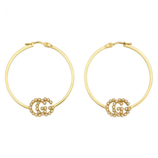 GUCCI G RUNNING 18K YELLOW GOLD & DIAMOND HOOP EARRINGS