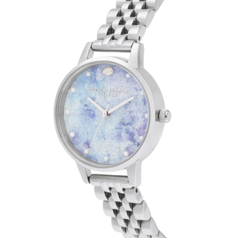 Deep Sea Midi Dial Faux Pearl Markers Silver Watch (OB16US43)