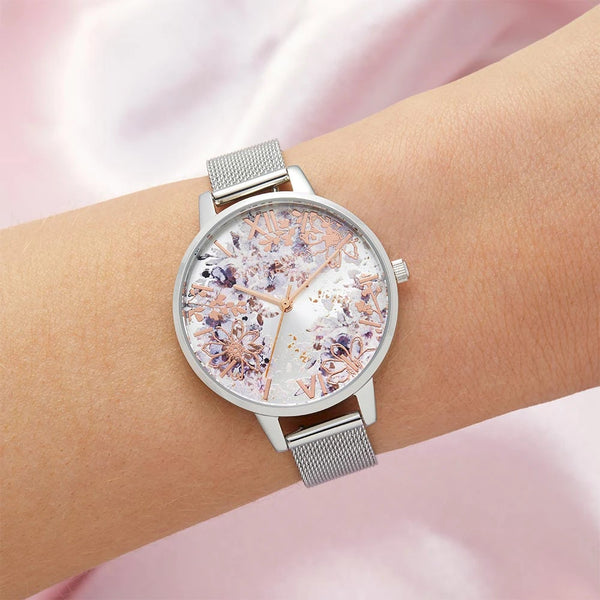 Abstract Floral Demi Silver & Rose Gold Mesh Watch (OB16VM46)