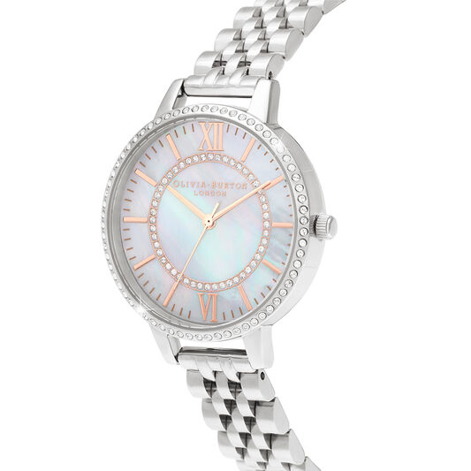 Wonderland Mother Of Pearl Demi Dial Silver Watch (OB16WD91)