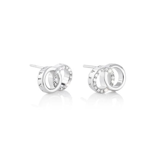 Bejewelled Interlink Earrings Silver (OBJCOE74)