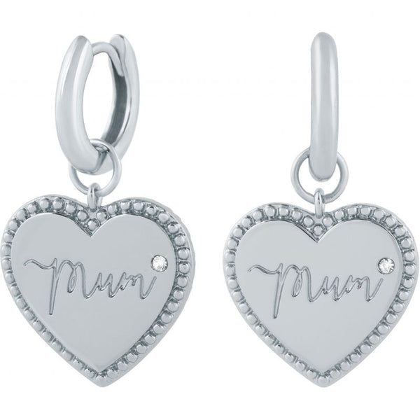 Mom Silver Huggie Earrings (OBJLHE35)