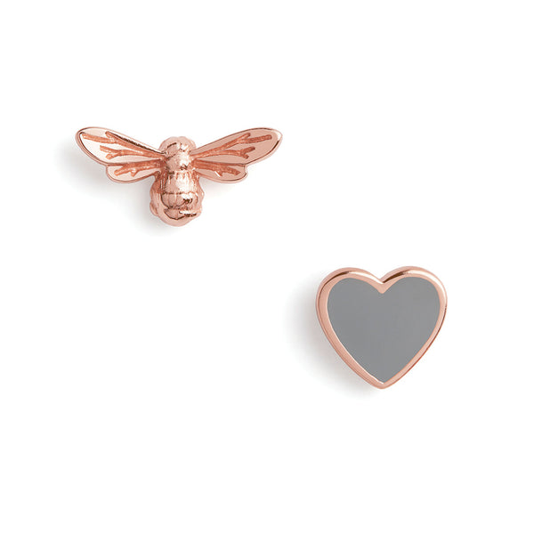 You Have My Heart Studs Grey & Rose Gold (OBJLHE45)