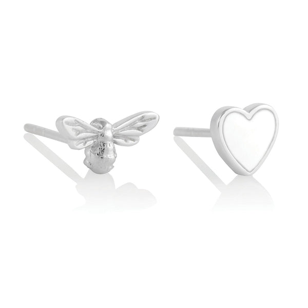 You Have My Heart Studs White & Silver (OBJLHE46)
