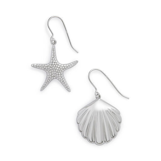 Shell & Starfish Silver Sleeper Earrings (OBJSCE30)
