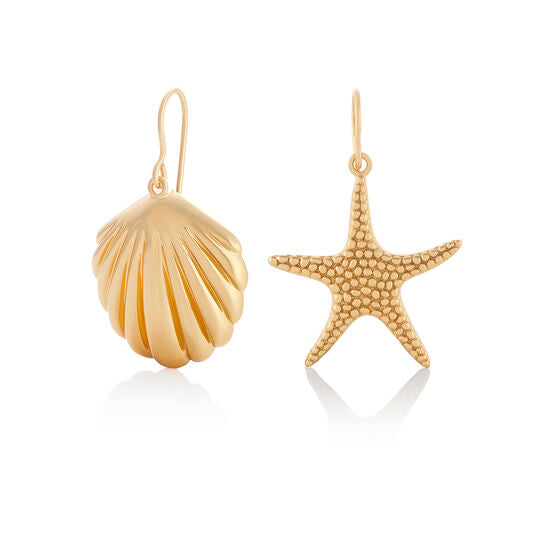 Shell & Starfish Gold Sleeper Earrings (OBJSCE31)