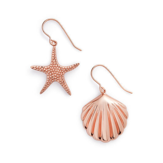 Shell & Starfish Gold Sleeper Earrings (OBJSCE32)
