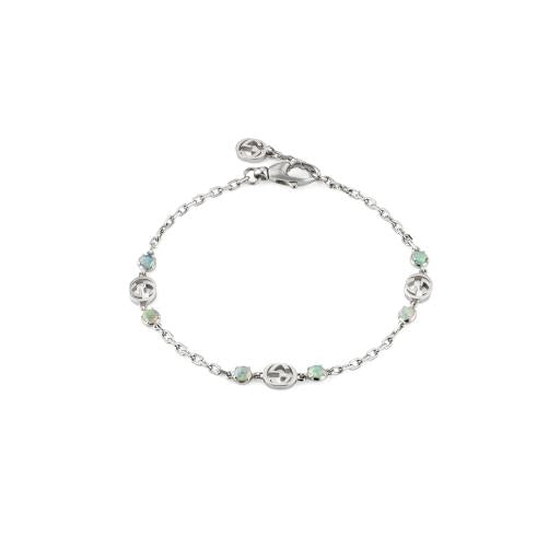 Interlocking G silver bracelet with opals (YBA648592001017)