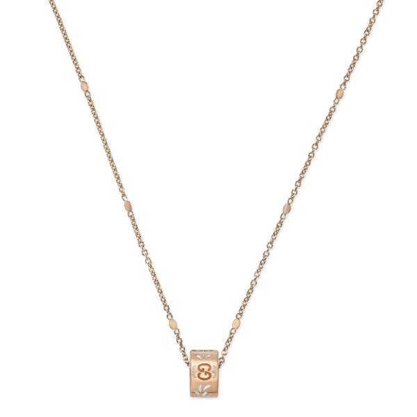 GUCCI ICON NECKLACE IN 18KT PINK GOLD AND WHITE ENAMEL
