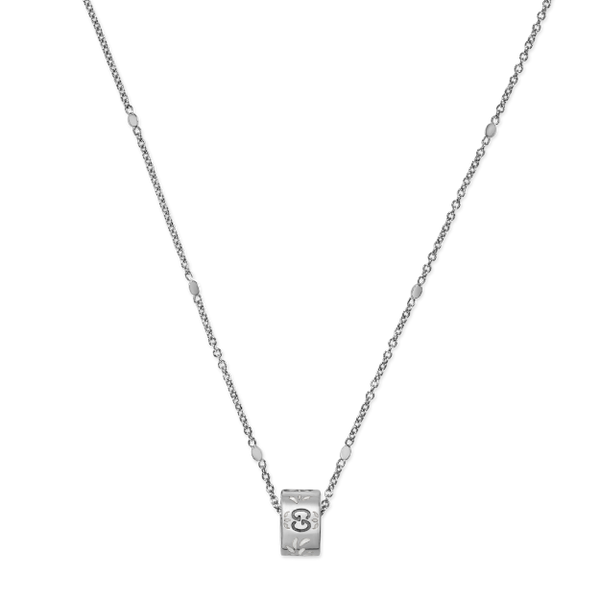 GUCCI ICON NECKLACE IN 18KT WHITE GOLD AND WHITE ENAMEL