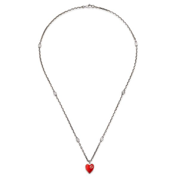 Gucci Interlocking G Red Enamel Heart Necklace (YBB64554500100U)