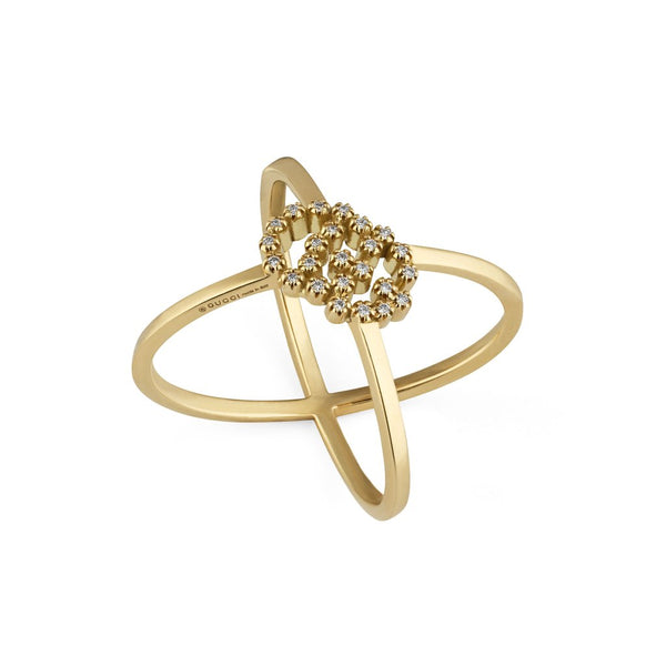 GUCCI GG RUNNING 18CT YELLOW GOLD DIAMOND 'X' RING