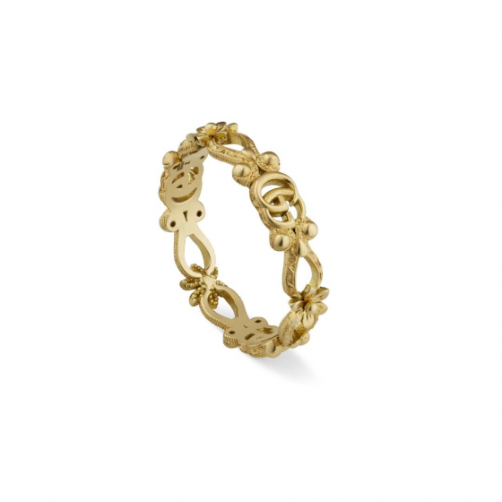 Gucci 18K Yellow Gold Flora Ring with Diamonds