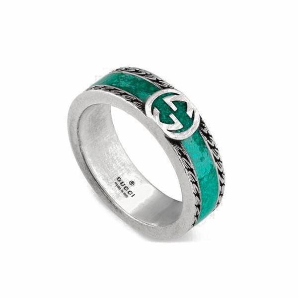 GUCCI Ring with turquoise enamel and GG logo (YBC645573001012)